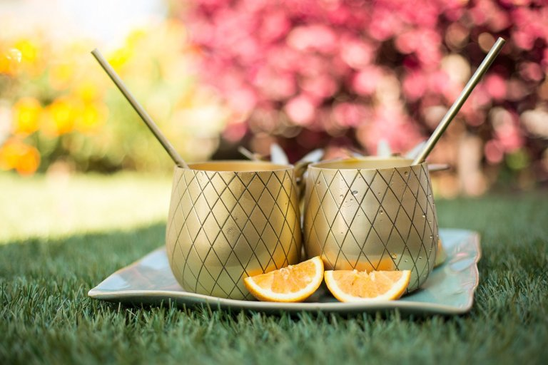 brass pineapple cups